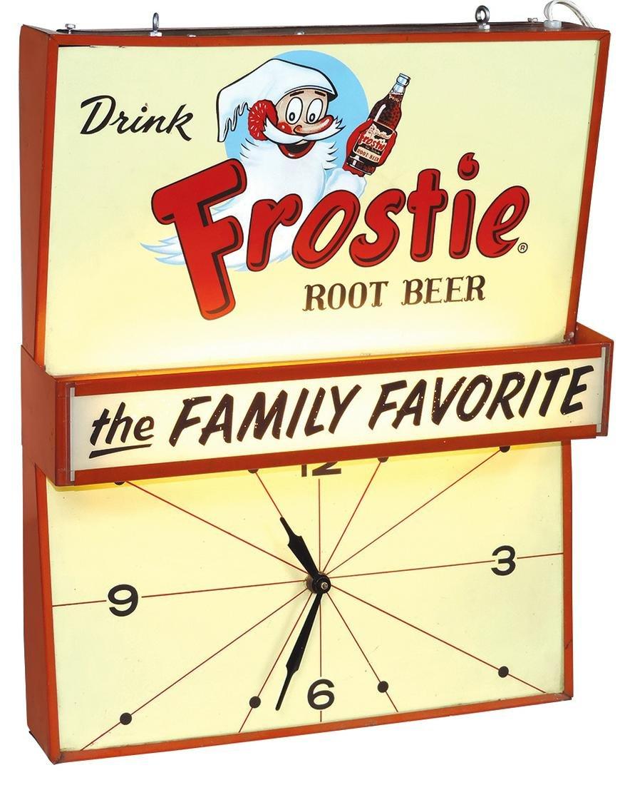 "Soda Fountain Sign w/Clock, Frostie ""The Family"