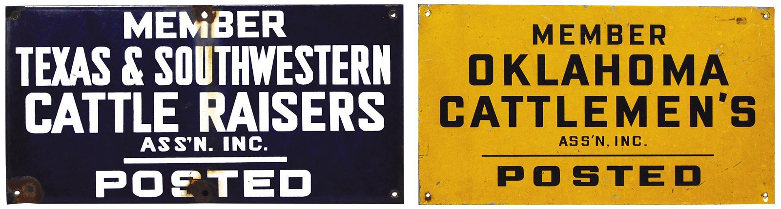 """Farming Cattleman Signs (2), Texas Members """"Posted"""""""