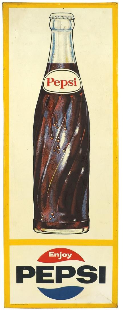 Pepsi-Cola Bottle Sign, 1966 embossed litho on
