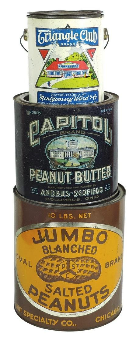 Country Store Peanut Butter Tins & Pail (3), Jumbo