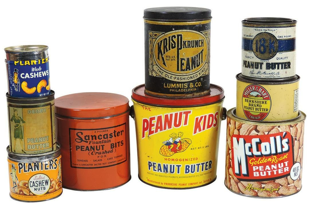 Country Store Peanut Butter Tins & Pail (9), Peanut