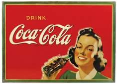 """Coca-Cola Sign, """"Drink Coca-Cola"""" pretty brunette"""