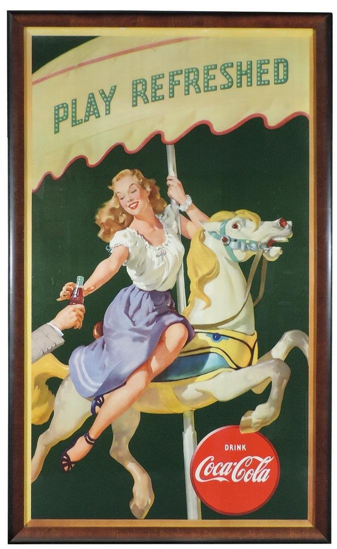 """Coca-Cola Sign, """"Play Refreshed"""", litho on cdbd"""