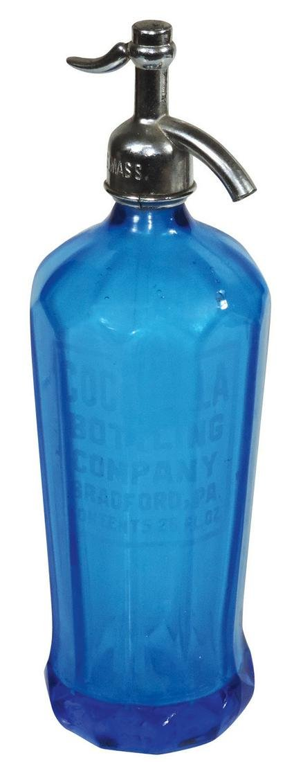 Coca-Cola Seltzer Bottle, sapphire blue paneled glass