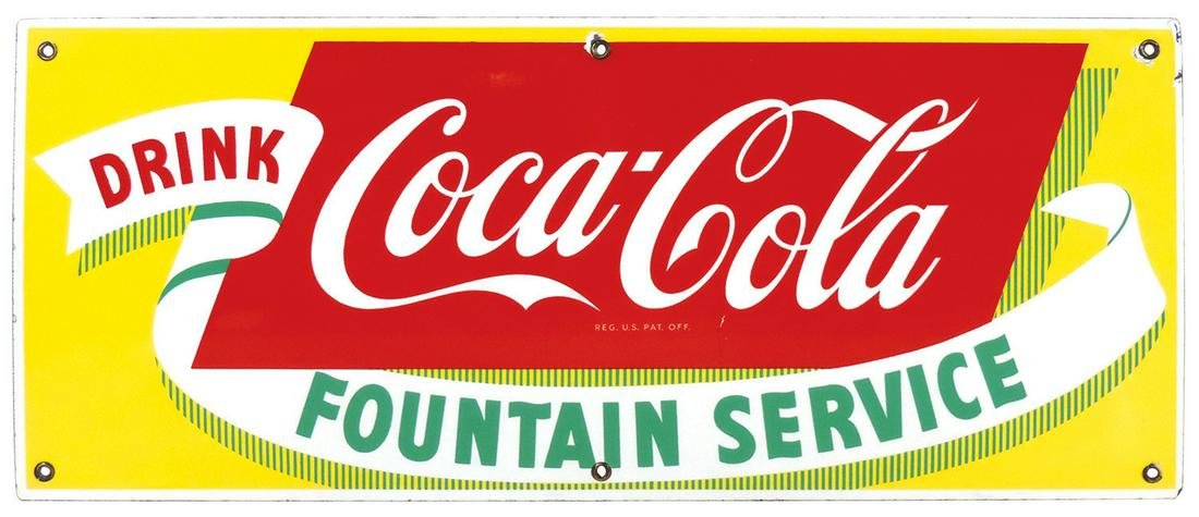 Coca-Cola Fountain Service Sign, single-sided porcelain