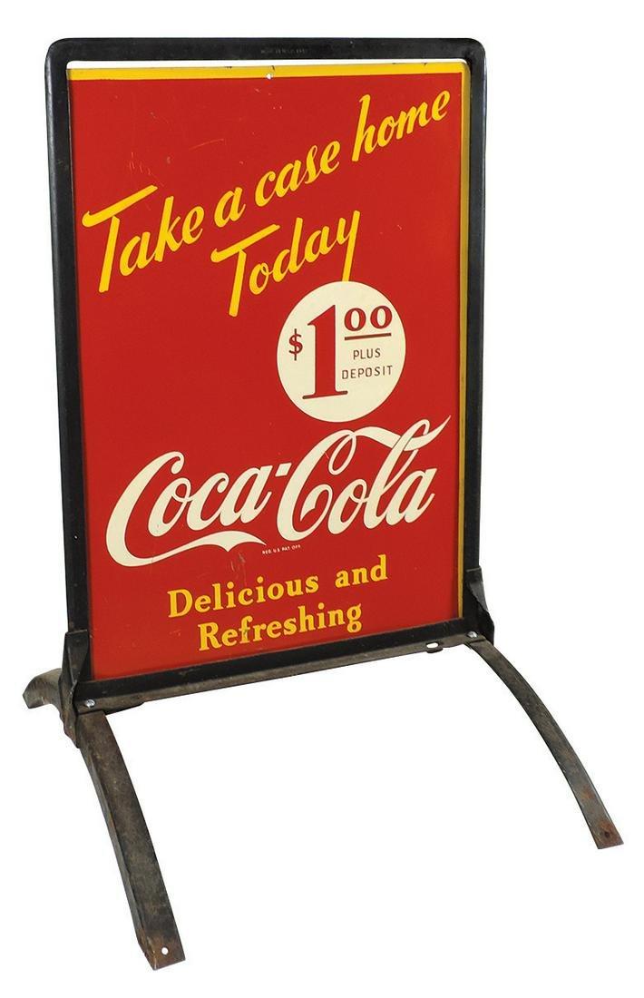 "Coca-Cola Sidewalk Sign, ""Take a case home"", 1930's"