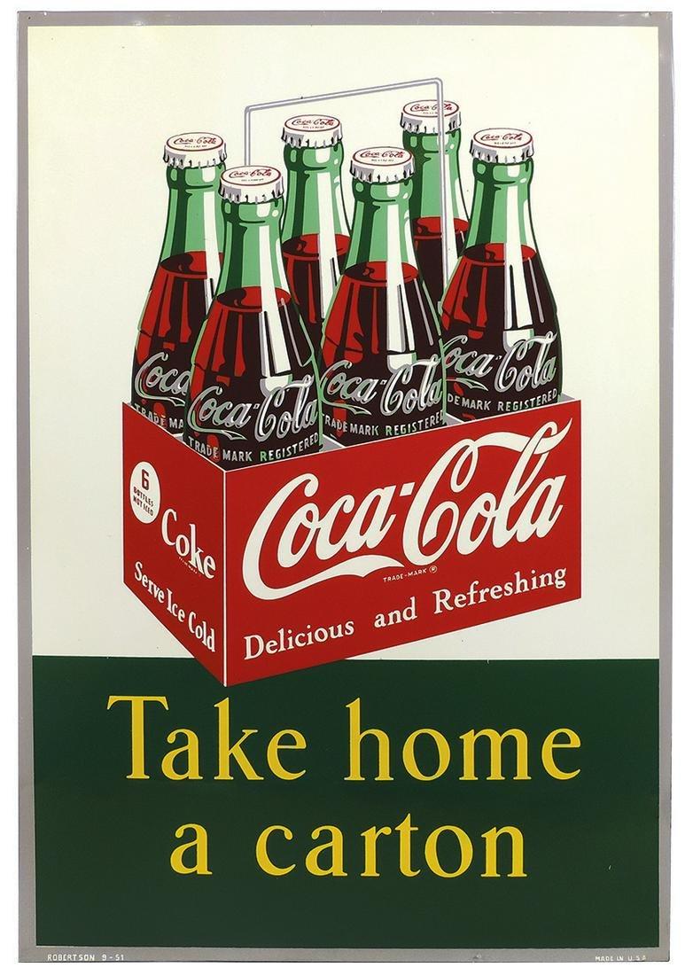 "Coca-Cola Sign, ""Take Home a Carton"", colorful litho on"