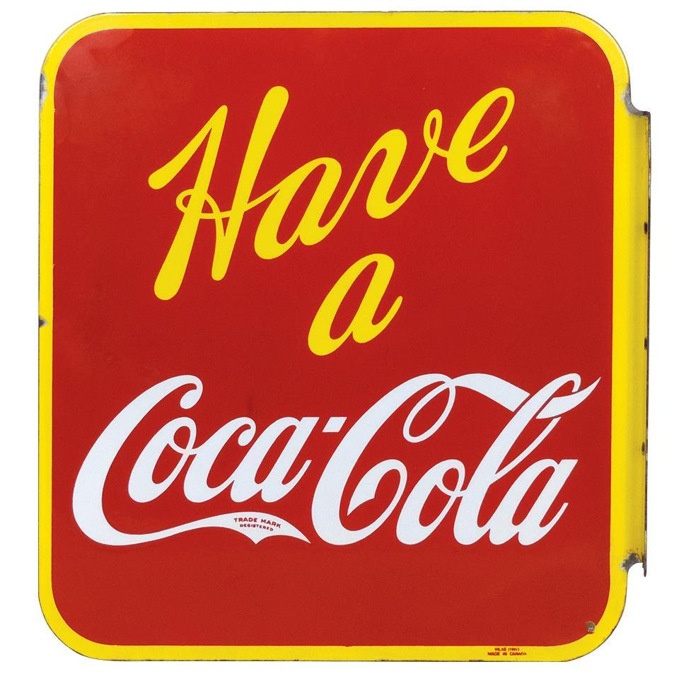 Coca-Cola Sign, Canadian double-sided porcelain flange