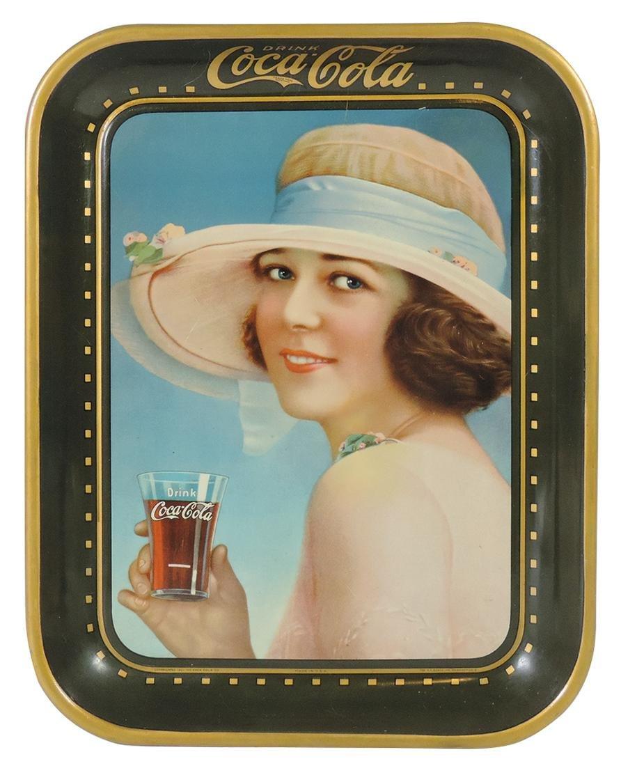 Coca-Cola Serving Tray, 1922, Pretty Girl /Hat & Glass