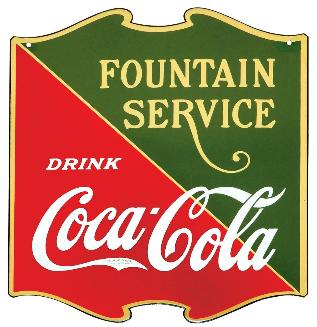 """Coca-Cola """"Fountain Service"""" Hanging Sign, double-sided"""