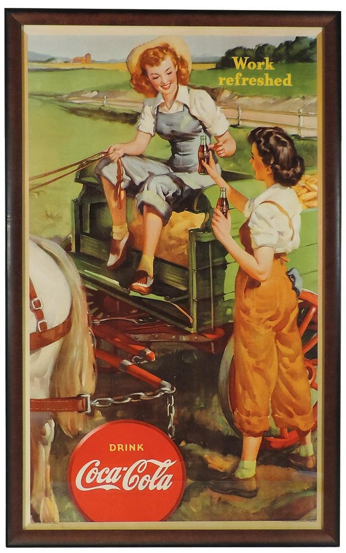 """Coca-Cola Sign, litho on cdbd, """"Work Refreshed"""", by"""