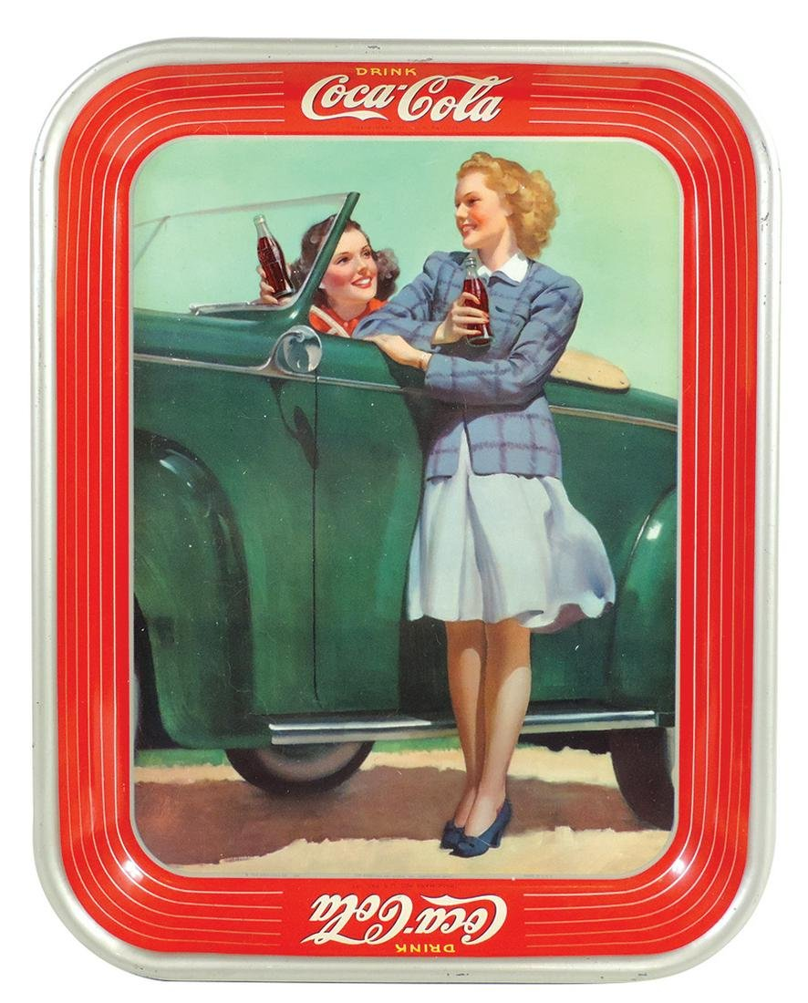 Coca-Cola Serving Tray, 1942, Roadster Girl, litho on