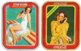 Coca-Cola Serving Trays (2), 1930 Telephone Girl &