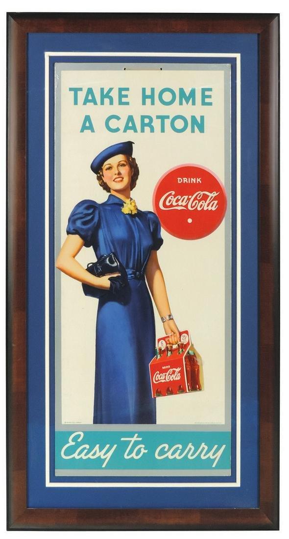 "Coca-Cola Sign, ""Take Home A Carton"", litho on cdbd by"