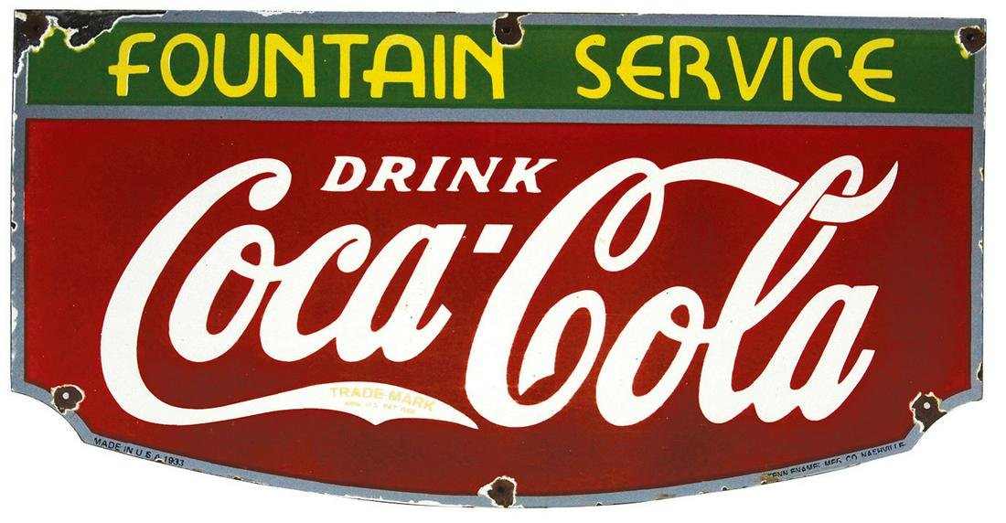 "Coca-Cola Sign, ""Fountain Service"" single-sided"
