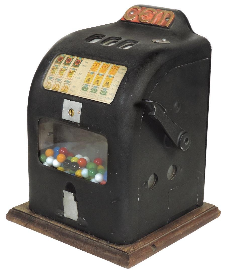 Coin-Operated Trade Stimulator, Gem, 1 Cent w/gumball