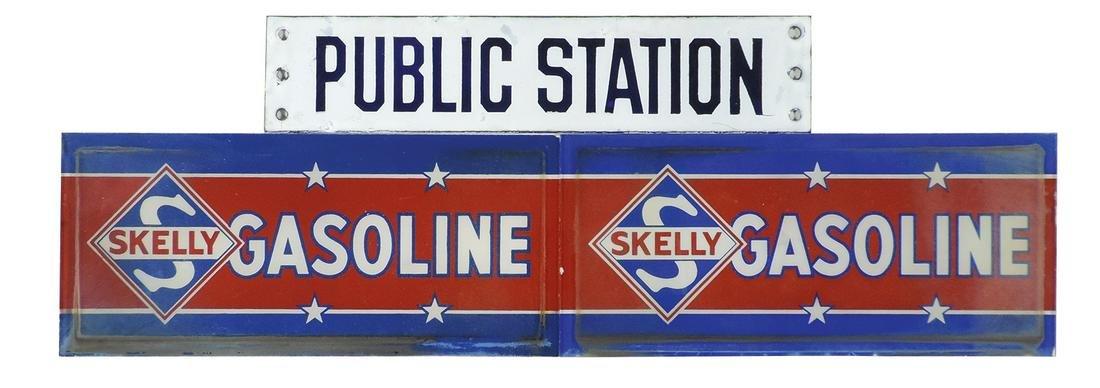 Petroliana (3), Skelly Gasoline pair of reverse-painted