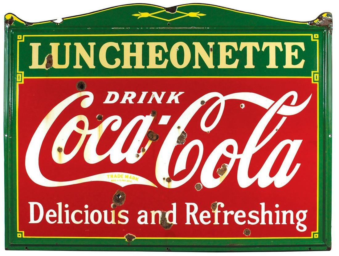 Coca-Cola Luncheonette Porcelain Sign, Rare, mfgd by
