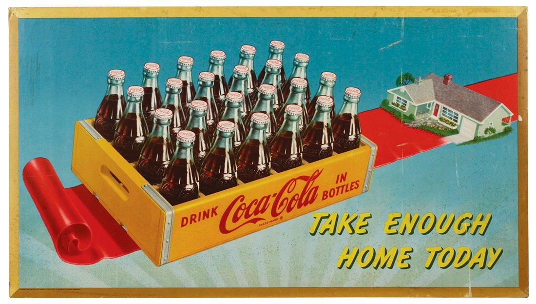 "Coca-Cola Cardboard Lithos & diecut (3), 1952 ""Take"