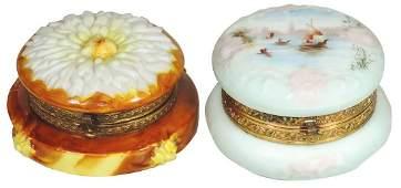 """Art Glass (2), Wavecrest Dresser Boxes, """"Zinnia"""" mold &"""