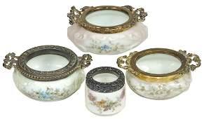 Art Glass (4), Wavecrest, 3 trays w/gilt handles &
