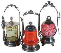 "Victorian Pickle Castors (3), cranberry ""Daisy & Fern"","