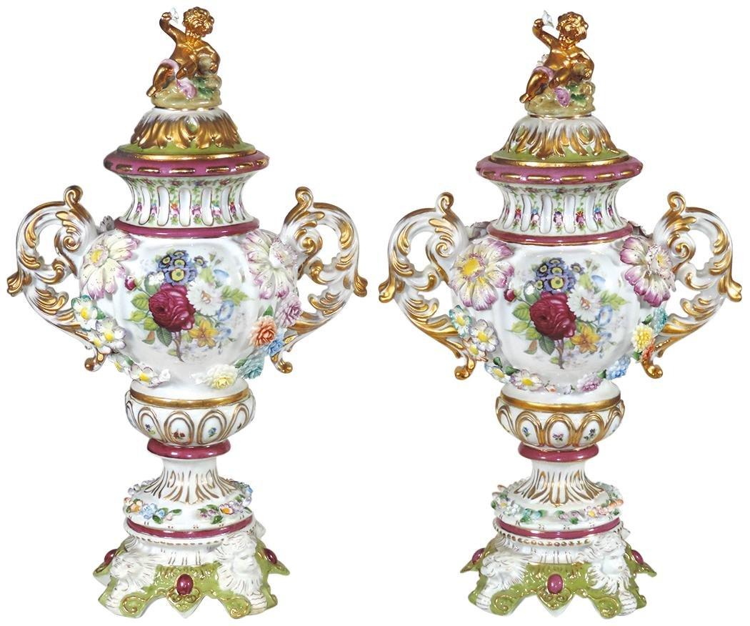 Decorative, Fine Pair of  Dresden Style Porcelain