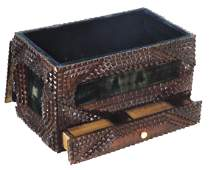 Tramp Art Sewing Box chip carved Folk Art wemerald