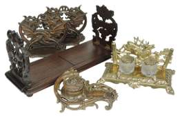 Victorian Desk Pieces 5 pair of bronze Dragon