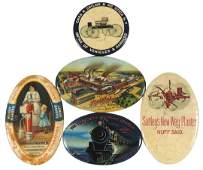 Advertising Pocket Mirrors (5), celluloid & glass,