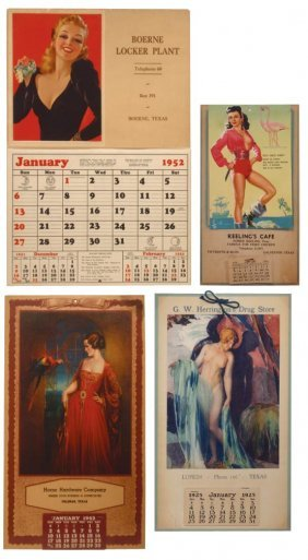 0002: Texas advertising calendars (4) from Galveston, L