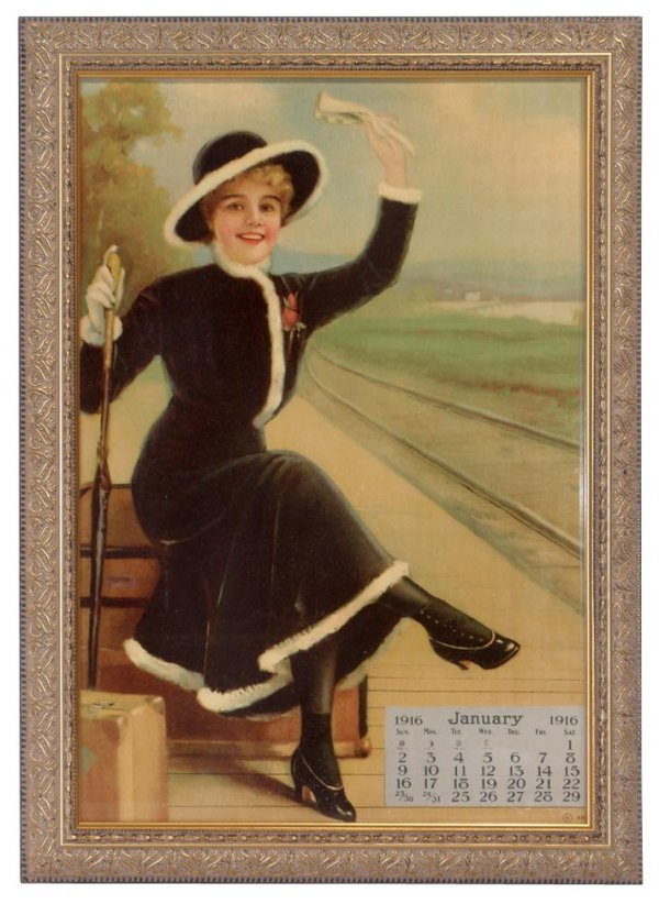 0006: Victorian woman at train depot litho on paper w/J