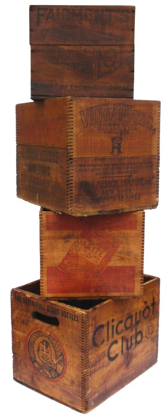0009: Wooden advertising boxes (4), VINO Tonic, Oakite