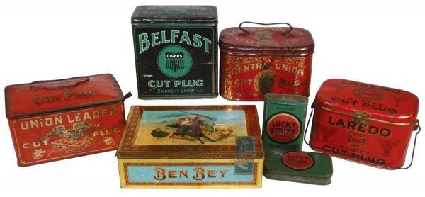 0011: Tobacco & cigar tins (7), Ben Bey, Union Leader,