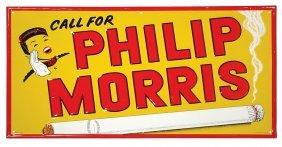 0012: Philip Morris embossed metal sign, pictures Johnn