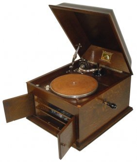0016: RCA Victor Gramophone, Model #103, oak case w/she