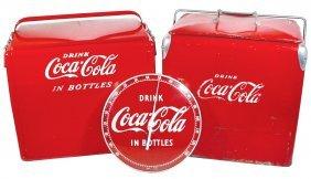 0018: Coca-Cola picnic coolers (2) & round glass thermo