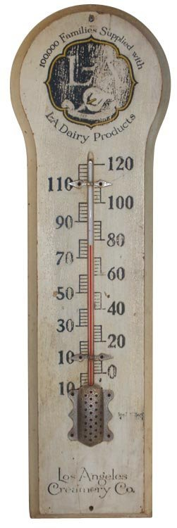 0021: Los Angeles Creamery Co. wooden thermometer, Tang