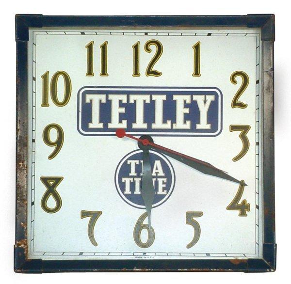 0022: Advertising clock for Tetley Tea, square metal el