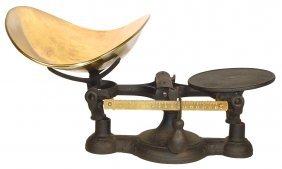 0023: Fairbanks scale, cast iron w/polished brass pan &