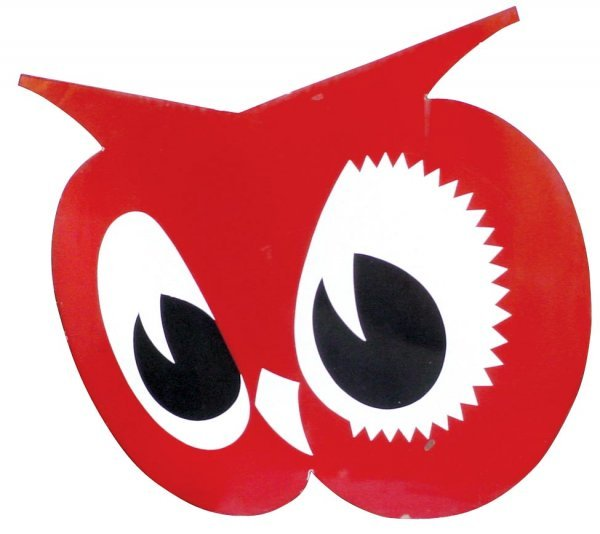 0066: Red Owl diecut porcelain grocery store sign, grea