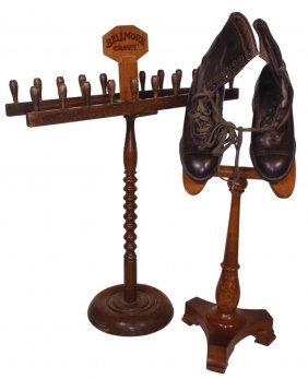 0701: Children's shoe oak display w/pr of child's brown