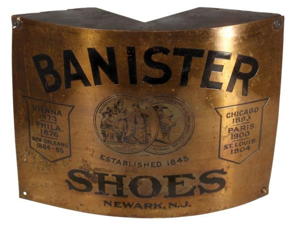 0702: Banister Shoes corner sign, Newark, NJ, embossed