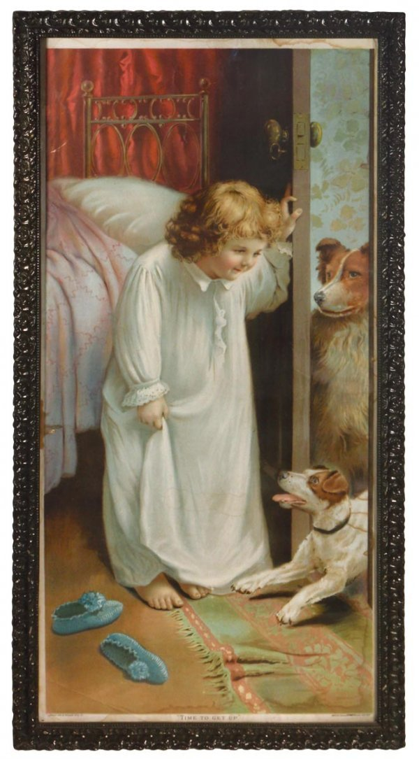 """0704: Victorian print, child & dogs titled """"Time to Get"""