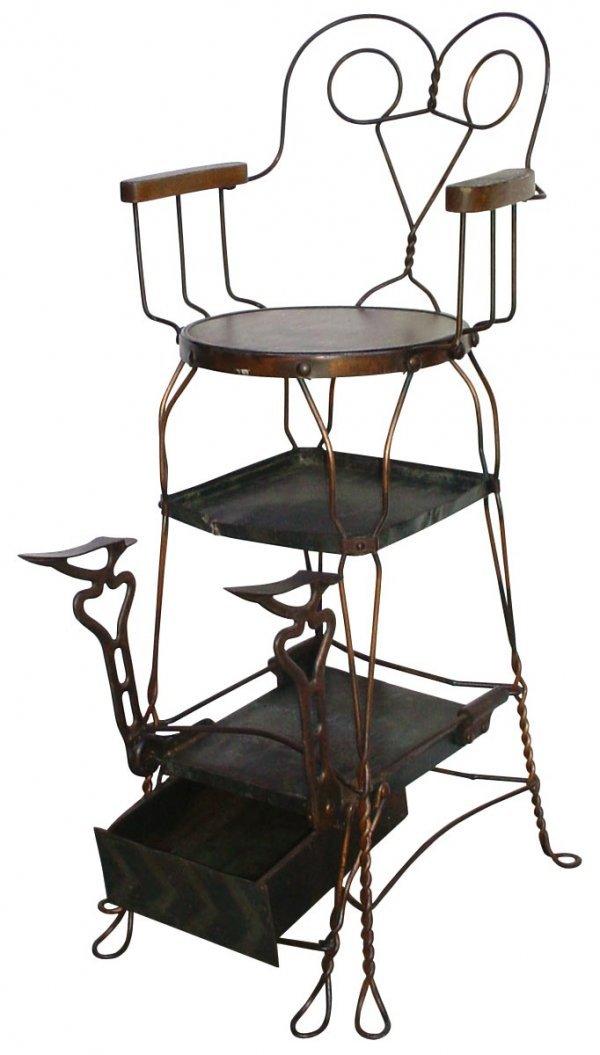 0705: Shoe shine chair, twisted metal frame w/wood seat
