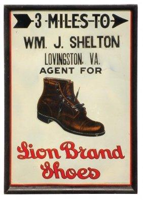 0706: Lion Brand Shoes dealer sign, litho on embossed m