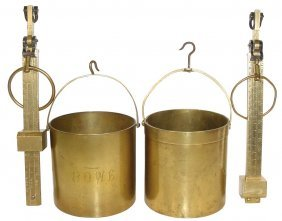 0712: Grain buckets w/scales (2), heavy brass buckets-o