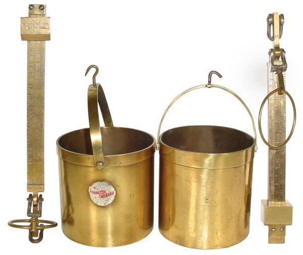 0714: Grain buckets w/scales (2), heavy brass buckets-o