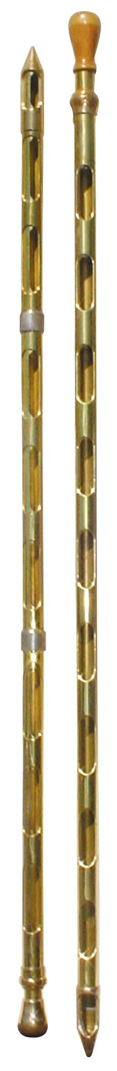 0718: Grain probes (2), both solid brass, one w/wood kn