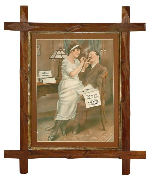 """0719: Cigar advertising sign for Old Style Smokers, """"Ke"""
